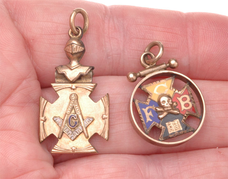 4766ab29a Two Old Masonic Pocket Watch Chain Fobs